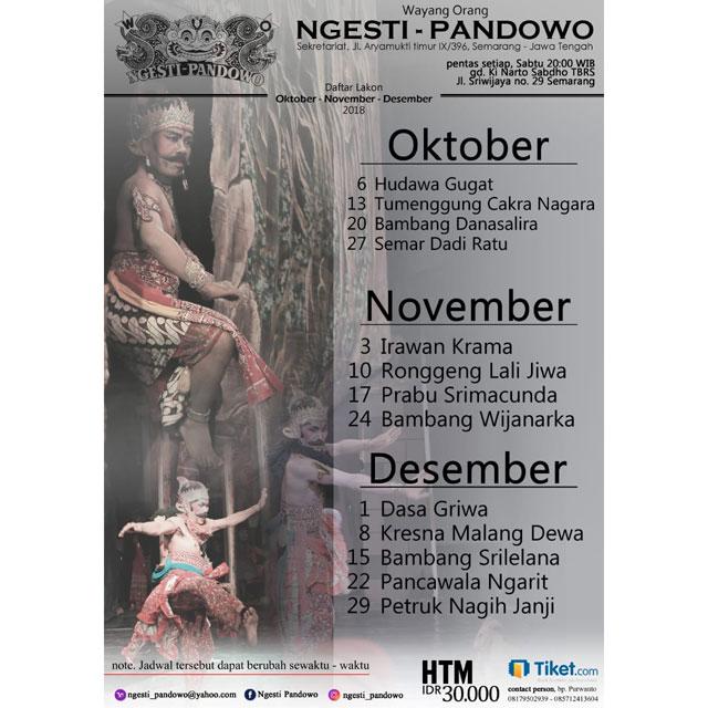 Daftar Lakon Pentas Wayang Orang Ngesti Pandowo