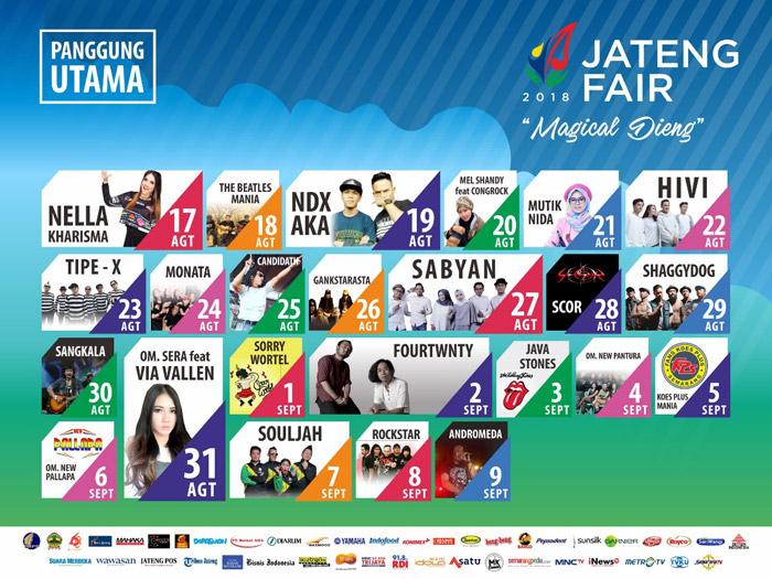 Jadwal Acara Artis Nasional Jateng Fair 2018