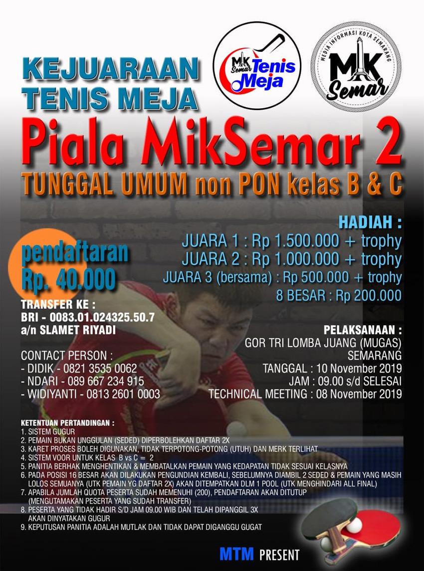 Kejuaraan Tenis Meja Piala MIKSEMAR 2 - 2019