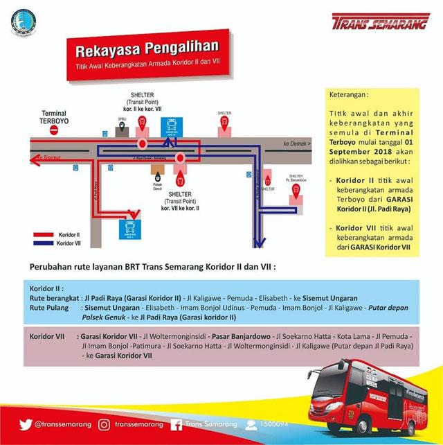 Rekayasa Pengalihan BRT Trans Semarang Koridor 2 & 7
