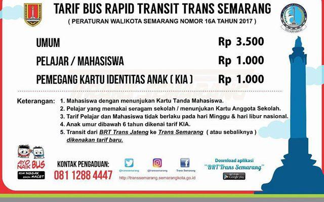 Info Tarif dan Jam Layanan BRT Trans Semarang